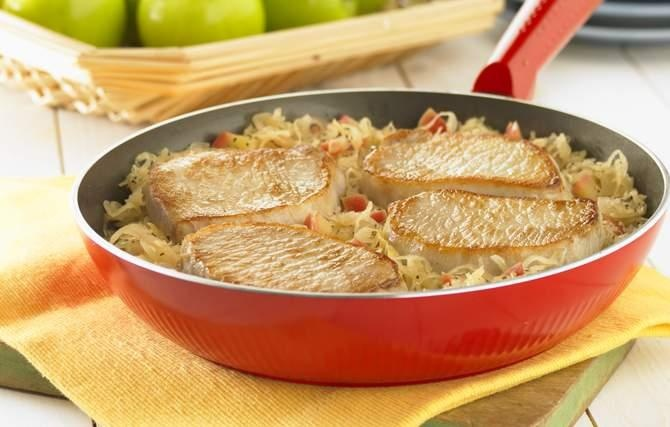 Pork Chops And Sauerkraut - Apples, onion and sauerkraut simmer with ...