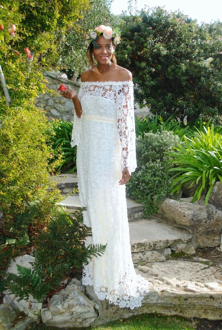 Handmade bell sleeve crochet lace bohemian wedding dress for Unique bohemian wedding dresses