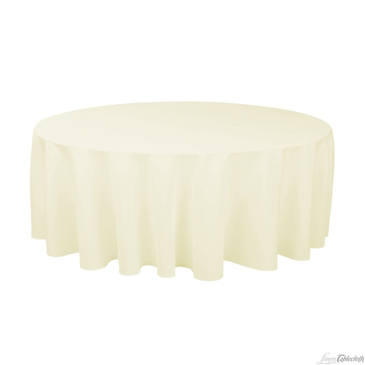 132 in round polyester tablecloth ivory for Where can i buy table linens