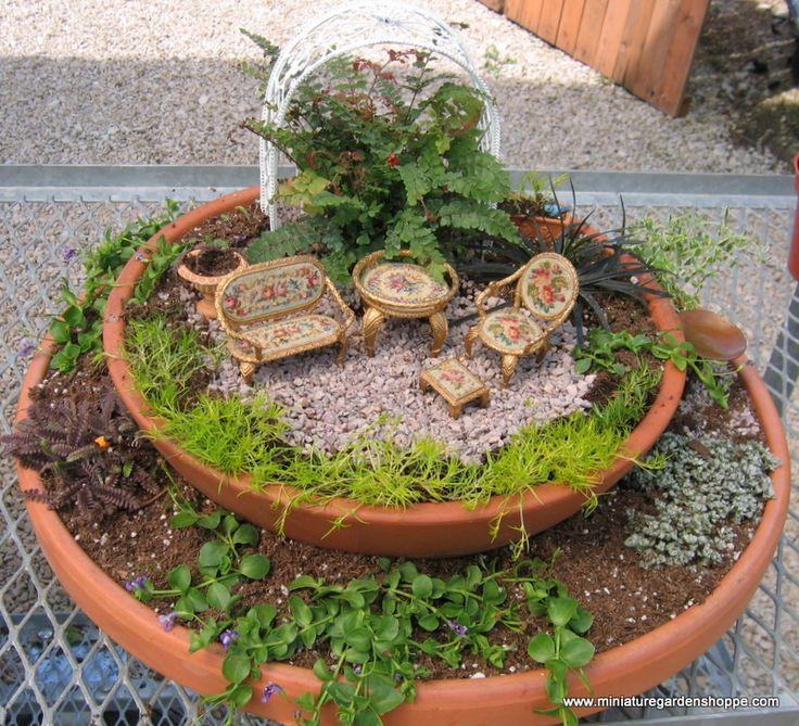 Two tiered mini garden  Miniature gardens  Pinterest