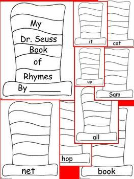 Dr. Seuss Book of Rhymes Primary Writing Activity Kindergarten 1st 2nd