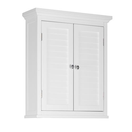 Slone wall cabinet with two shutter doors in white elegant home fashi