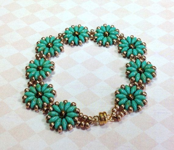 Super Duo Medallion Bracelet Turquoise Beaded by JewelryCharmers, $36.00
