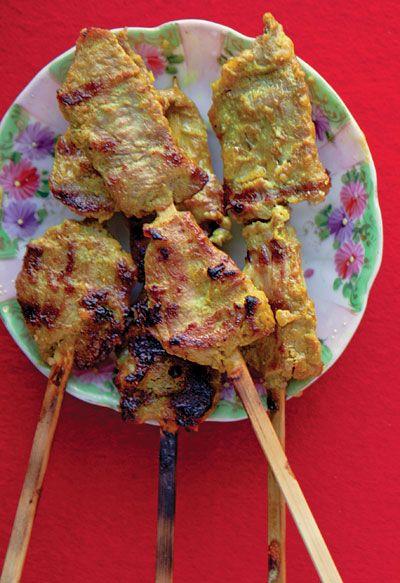 Muu Satay (Thai Pork Satay), but I'm thinking veggies instead since ...