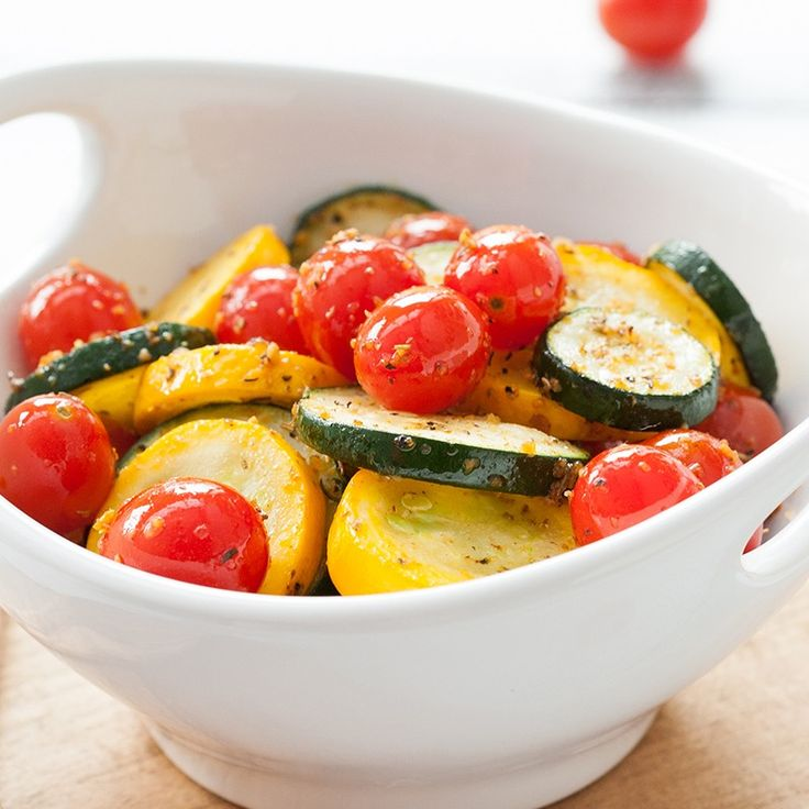 quick sauté of seasonal summer squash and cherry tomatoes makes a ...