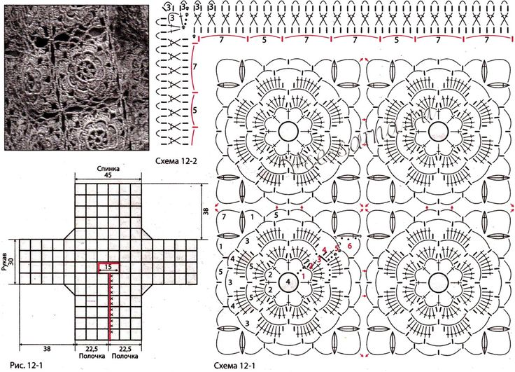 Схемы вязания кофт крючком мотивами