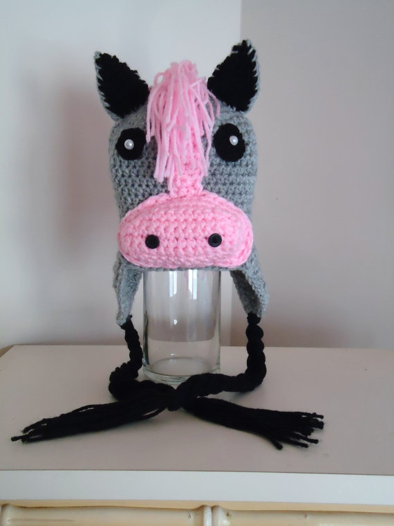 Free Crochet Pattern For Horse Hat : Crochet Horse Pony Beanie Earflap Adult Hat Princess Pink ...