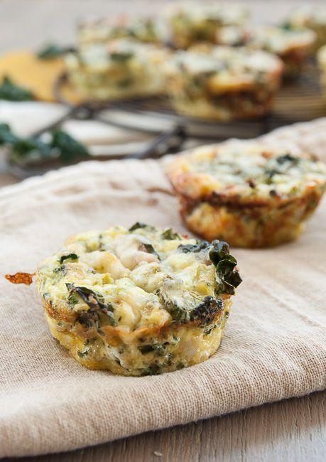 Mini Crustless Kale and Broccoli Quiches - A healthy recipe the whole ...