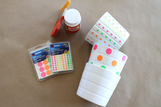 DIY Neon Polka Dot Pots with office supply stickers