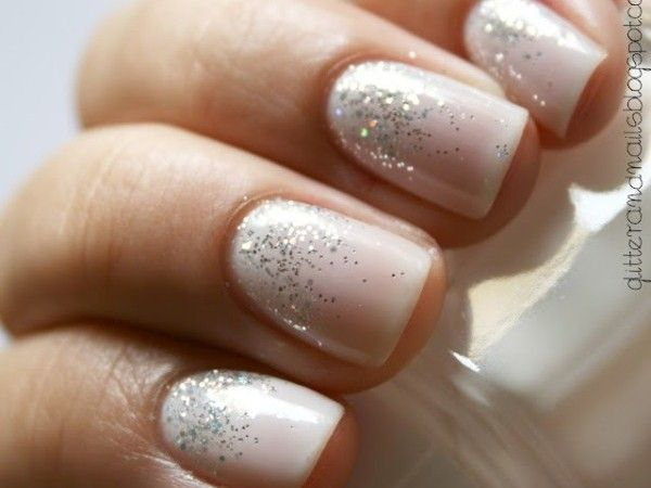 white glitter ombre nails mcbride wedding pinterest