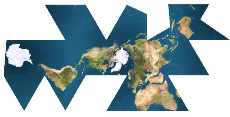 Buckminster Fuller's Dymaxion map—there is one ocean and the earth is one island. assemble or leave flat