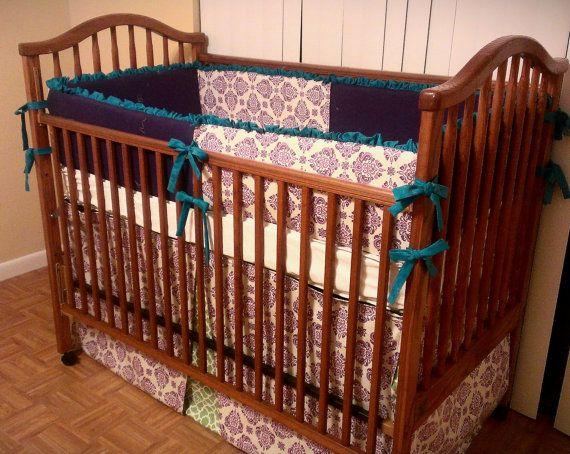 Aqua green and purple crib bedding baby bedding 2 piece set include