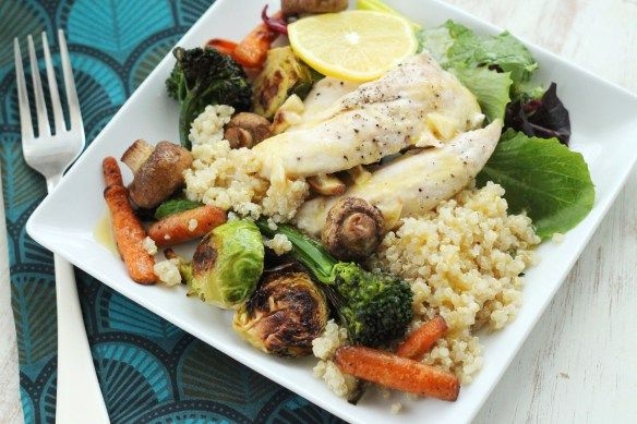Roasted Vegetable quinoa salad with lemon vinaigrette