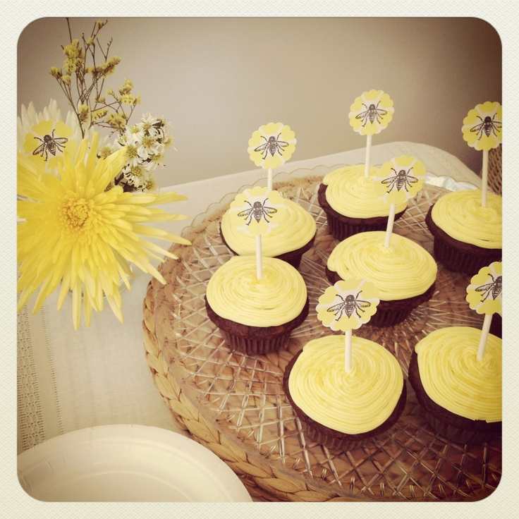 ... Baby Shower | Cupcakes w/ toppers | Yellow and white | Brooklyn, NY (c