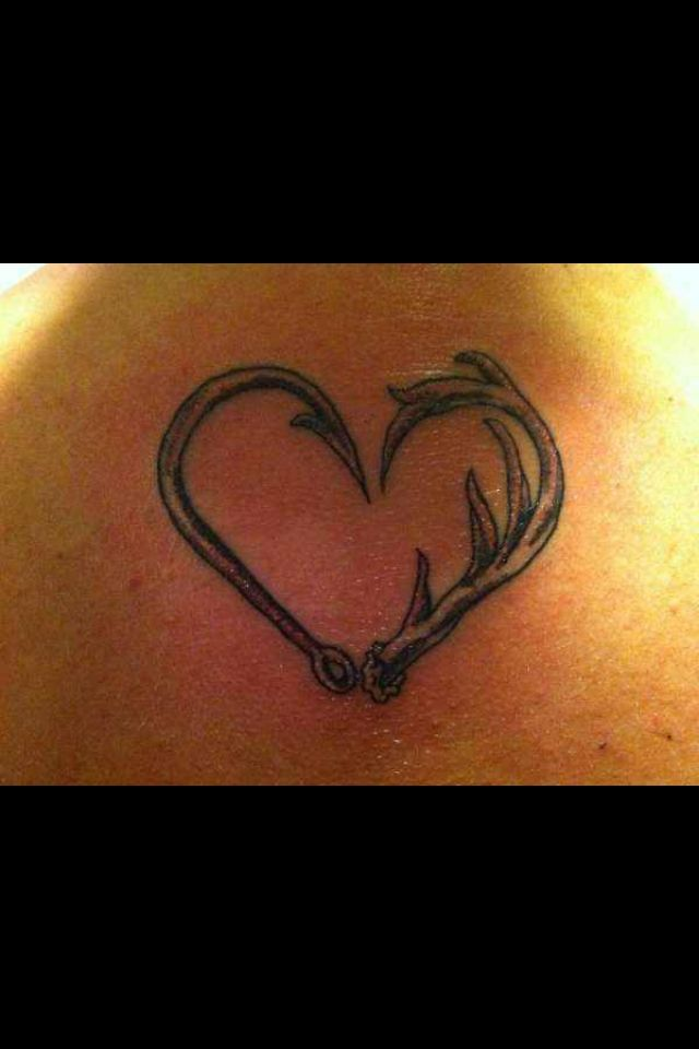 Deer Antlers and Fish Hook Heart Tattoo