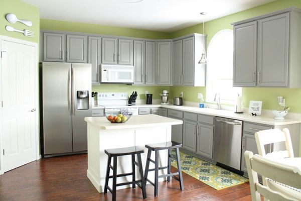 gray kitchen cabinets green walls  Playing house  Pinterest