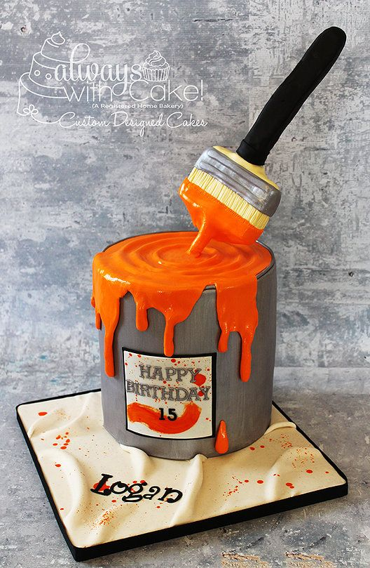 Paint can with paint brush birthday cake always with cake pintere