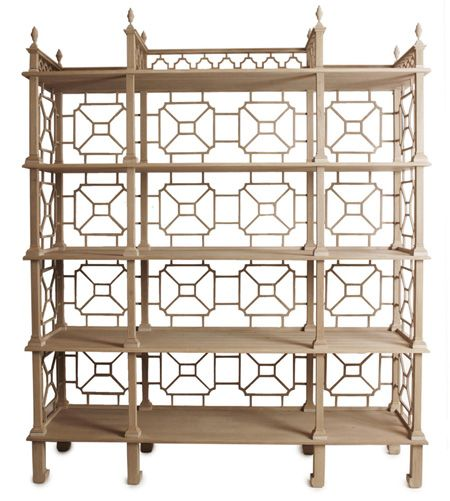 Gorgeous Chinese Chippendale teak garden Laurent Etagere from Kristen Buckingham