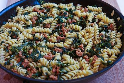 ... Pasta with Hot Italian Sausage, Kale, Garlic, and Red Pepper Flakes