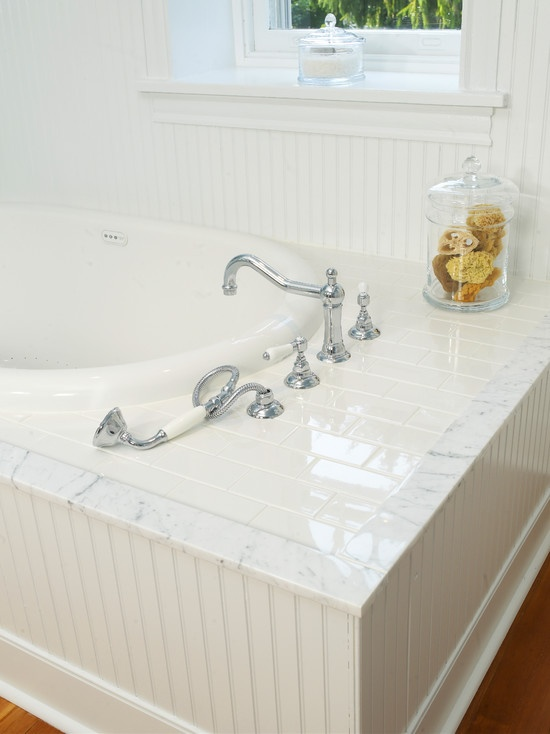 Soaking Tub With Subway Tile Surround And Marble Field Tile Would Do