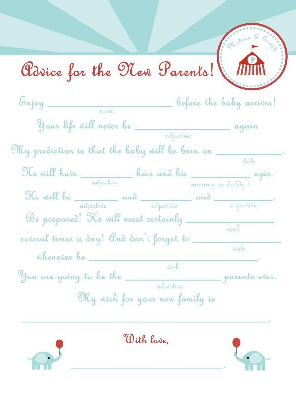 baby shower mad lib advice party pinterest