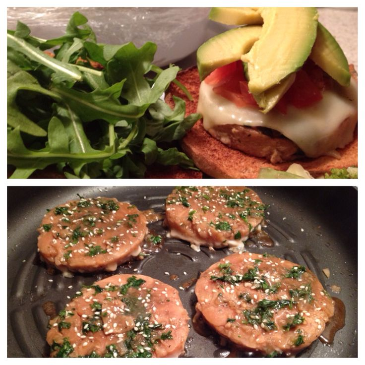 Asian flavored Salmon Burgers! frozen salmon patties. Cooked in diced ...