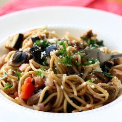 Whole wheat pasta with roasted eggplant, mushrooms, tomatoes and goat ...