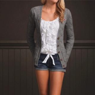 .:* L - jean short cut offs, white ruffled tank, and gray wool cardigan