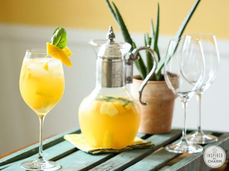 Drinks and Links: Pineapple, Mango, and Basil Sangria