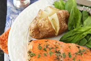 Baked Trout (or Salmon) with Honey-Thyme Glaze