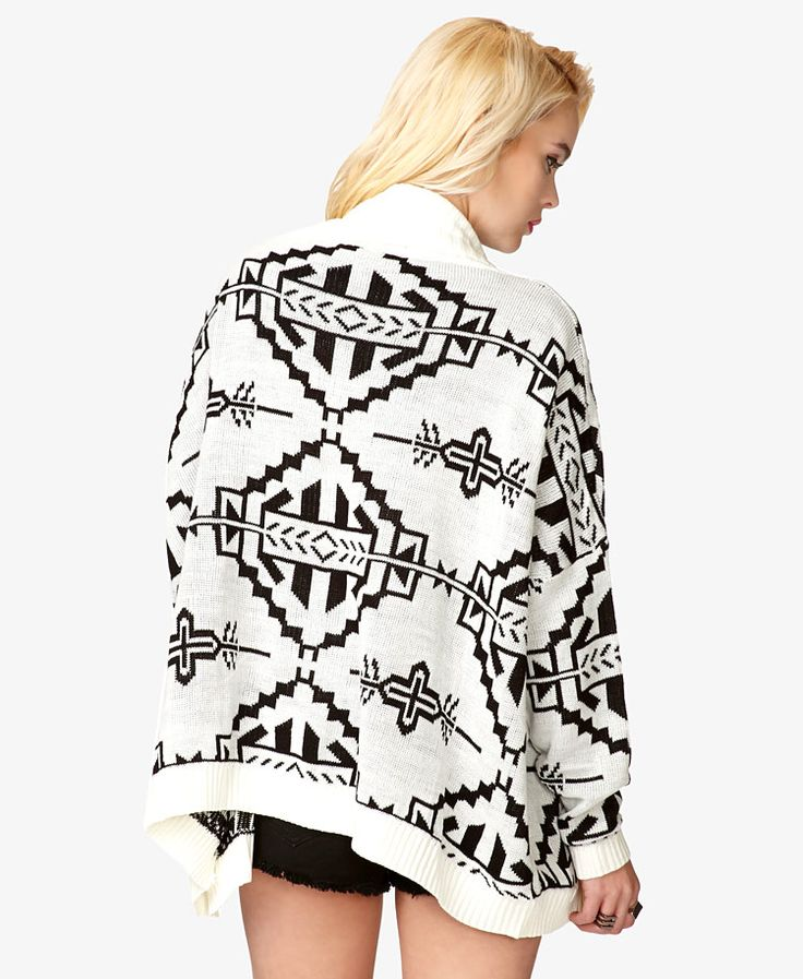 Open-Knit Tribal Print Cardigan | FOREVER21 - 2057831109