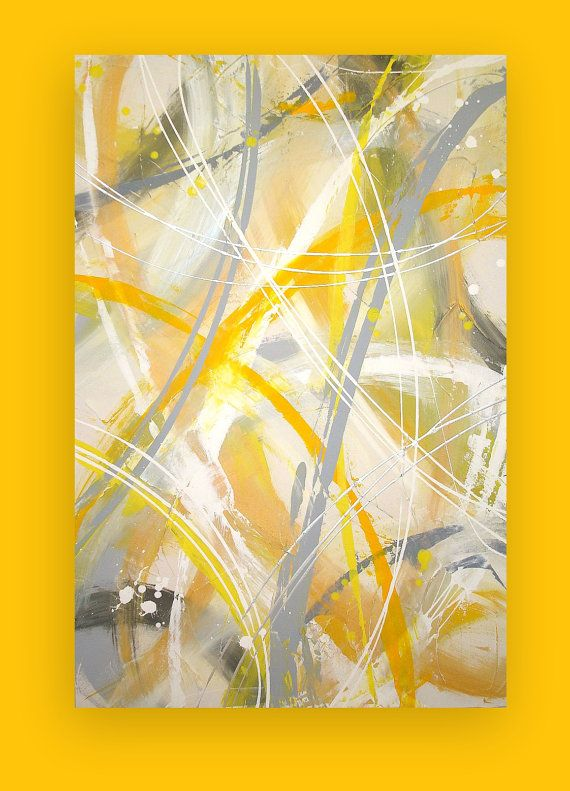 Abstract Yellow Paintings Yellow And Gray Abstract