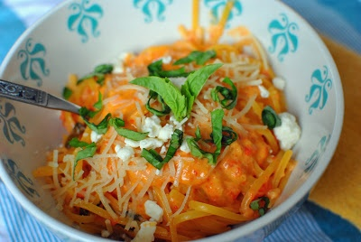 Roasted Red Pepper & Goat Cheese Alfredo Sauce served over spaghetti ...