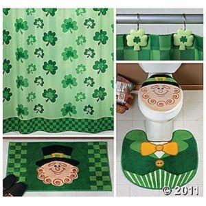 Leprechaun and shamrock decor complete bathroom accessory for Complete bathroom decor sets