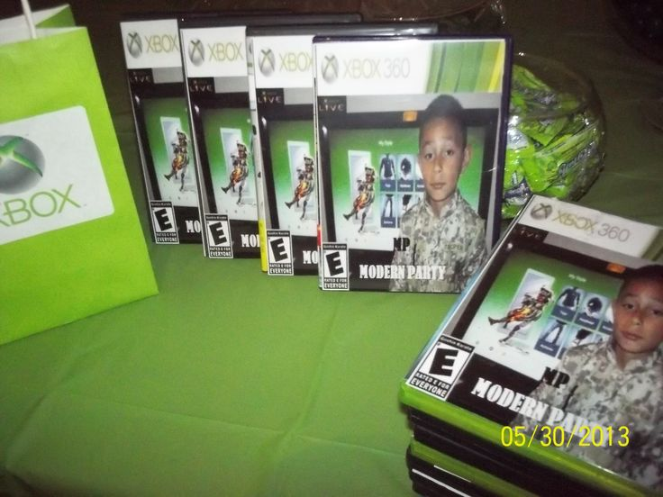 Personalized xbox party favors halo birthday pinterest for Decoration xbox one