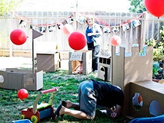 Baby's birthday party with a cardboard box town!