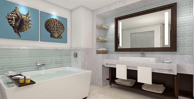 Modern and chic bathroom design at sandals lasource for Caribbean bathroom design ideas