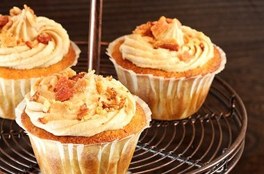 Maple Bacon Cornbread Cupcakes with Maple Frosting Garnished with ...