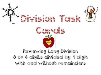 Long Division Task Cards (Snowman Version)