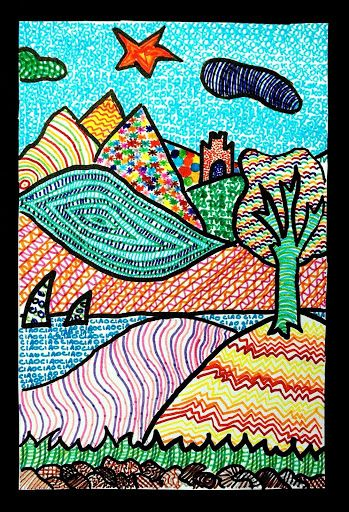 Texture landscape art lessons sixth grade pinterest for Landscape art projects