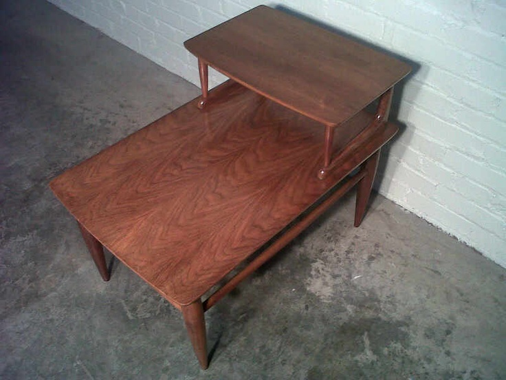 Mid-Century Danish Modern Step-Up End Table / Lamp Table / Nightstand   -  Nice Eames Era Decor. $69.00, via Etsy.