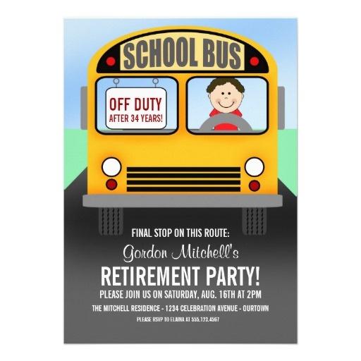 School Bus Driver Retirement Invitations