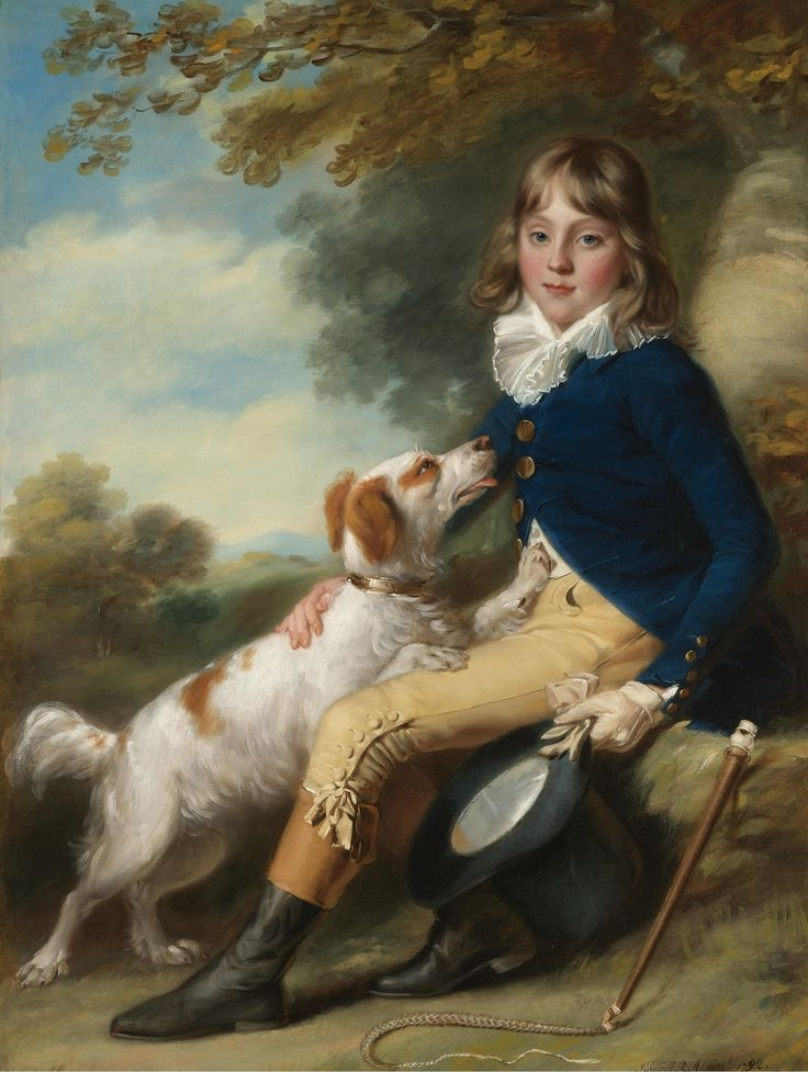 John Russell R.A., GUILFORD 1745 - 1806 HULL - PORTRAIT OF THOMAS SHEPPARD: full-length, seated in a landscape; he wearing a blue coat and yellow breeches with his spaniel, signed and dated lower right:  J.Russell, R.A. Pinxt 1792, oil on canvas: