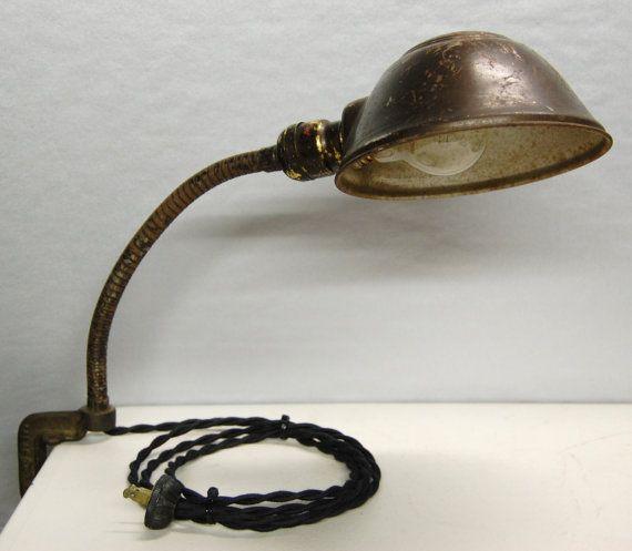 rustic industrial gooseneck clamp desk lamp. Black Bedroom Furniture Sets. Home Design Ideas