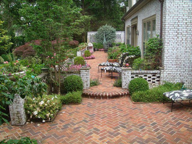 brick patio herringbone landscape design