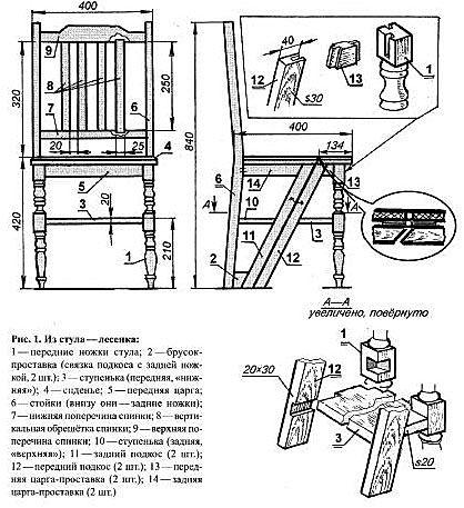 Как сделать стул трансформер своими руками чертежи 191