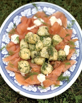 potato salad with smoked salmon and horseradish creme fraiche