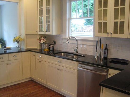 light cabinets, dark granite  Kitchen  Pinterest
