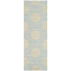 Handmade Soho Medallion Light Blue N. Z. Wool Runner (2'6 x 8')/for upstairs hall
