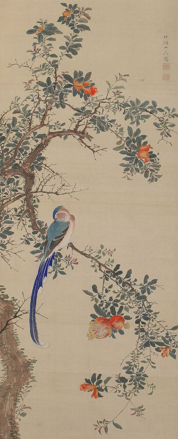 Antiguo arte japonés del colgante de pared de pintura de aves y flores colgantes desplazamiento Kakejiku-110912